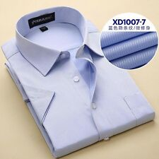 Handsome Mens Short Sleeve Square Collar Slim Fitted Business Casual Dress Shirt