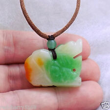 Chinese White Yellow & Green Pixiu Dragon jade pendant necklace US SELLER