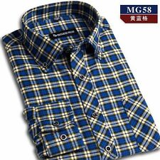 New Mens Slim Fitted Plaid Shirt Long Sleeves Casual Dress Shirt 38-44 14 Colors