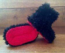 Baby Goth Emo  Hand Knitted Crochet Booties Boots Slippers Soft Faux Fur 0-12M
