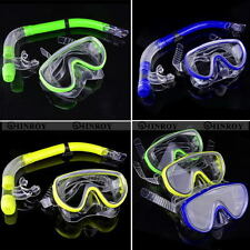 Glass PVC Adult Swimming Swim Diving Scuba Anti-Fog Goggles Mask & Snorkel Set