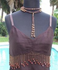 Cache $88 SILK WOOD + BEAD EMBELLISHED STRINGS RUCHED CAMI Top NWT S/M
