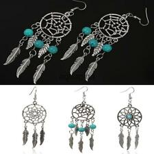 Vintage Antique Silver Turquoise Bead Dream Catcher Feather Dangle Earrings
