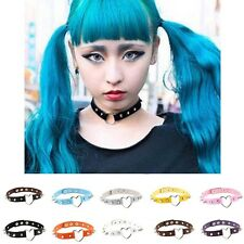 Punk Goth Choker Necklace Collar Chain Heart-Ring Rivet Leather