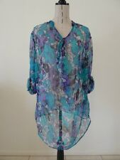 LADIES BNWT SIZE 20 ORIENTIQUE SHEER FLORAL TUNIC TOP