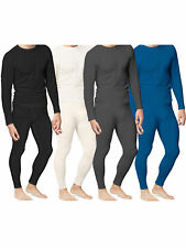 Mens 2pc Thermal Underwear Set Top Bottom Waffle Knit Cotton Long John