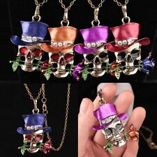 Rhinestone Tibet Charm Necklace Skull Pendant Flower Crystal Gold Plated Chain
