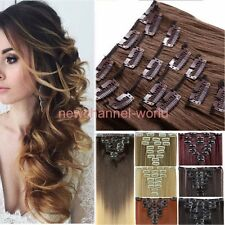 US Natural Clip in on Hair Extensions 8 Pieces Full Head Long New AS Human Hair