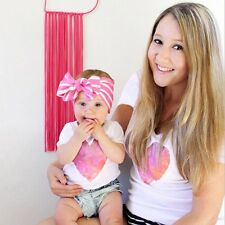 Women Mother & Daughter Love Heart Cotton T-shirt Family Matching Clothes Blouse