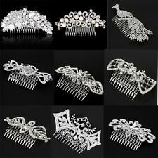 Elegant Crystal Rhinestone Pearl Flower Wedding Bride Hair Comb Hair Accessory