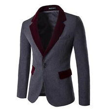 Fashion Mens Winter Coat  Stylish Trench Woolen Jacket Suit gray Free Shipping