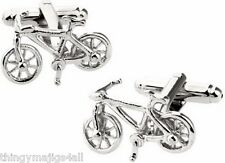 PAIR SILVER CYCLING BIKE CYCLIST CUFFLINKS SHIRT BICYCLE GIFT UK SELLER CYCLE