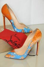 New Christian Louboutin PIGALLE 120 Orange Velvet Blue Painted Shoes 41.5 RARE!