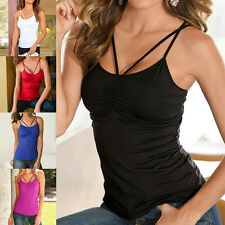 Women Lady Vest Top Tight Strap Cross Camisole T-shirt Strappy Tank Cami Blouse
