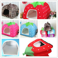 Doggy Puppy Strawberry Kennel Cushion Basket Pad Pet Dog Bed House Cat Soft Warm