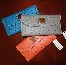 Dooney & Bourke Ostrich Emb Leather Checkbook Wallet