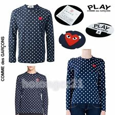 %Genuine Comme Des Garcons CDG PLAY Blue Polka Dot Long Sleeve T-Shirt Women Men