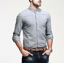 Mens Long Sleeve Botton Front Peaked Collar Striped Superb Casual Shirt Cotton
