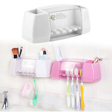 Plastic Bathroom 5 Set Toothbrush Tooth Paste Stand Holder Storage Rack Box EA