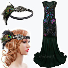 Great Gatsby 1920s Flapper Dress Evening Party Long Bridesmaid Prom Gown Dresses