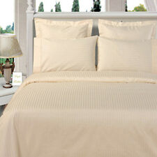 8PC Microfiber Stripe Ivory Bed in a Bag Set- Duvet Set-Sheets & White Comforter