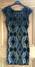 Topshop New Black Velvet Glitter Floral Bodycon Party Dress Size 10 12 Bnwot