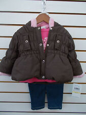 Infant Girls Baby Togs $52 3pc Brown & Pink Jacket Set Size 12 Months-24 Months
