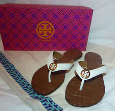 Tory Burch Thora Flip Flop White Thong Sandal Leather Gold Size 5 6 7 8 9 10 New