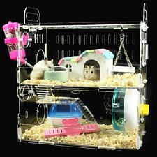 Hamster Cage Clear View 2 Layer Mice Mouse Gerbil Castle Rat House Villa Acrylic
