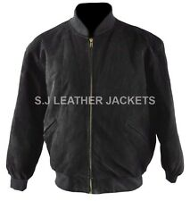 Men's Fashion Suede Leather Bomber High Quality Black Jacket All Sizes Xs-5xl