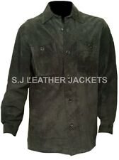 Men's Fashion Quality Cow Suede Leather Jacket Black Coat