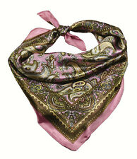 Soft Silky Silk Square Scarf Chemo Head Cover Wrap Chain Paisley Paiseley Print