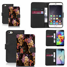 faux leather wallet case for many Mobile phones - skull flower