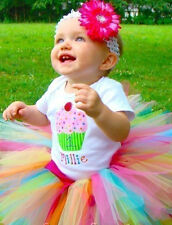 1st Birthday Cupcake Onesie Tutu Outfit FREE Hair Bow Personalize