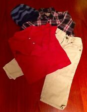 Boys 12-24 Mos Lot Old Navy 4 pc Cords Flannel Shirt Waffle Henley Beanie EUC