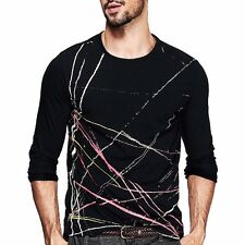 Fine M~XXL Mens Printing Basic Tee Shirt Round Neck Long Sleeve Fitted T-shirt