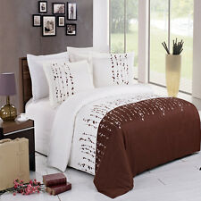 8PC Soft Ellis Embroidered Bed in a Bag Set- Duvet Set-Sheets & White Comforter