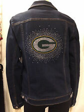 *NFL GREEN BAY PACKERS* Womens Best Selling Bling Jean Jacket NWT $180 SM-3X
