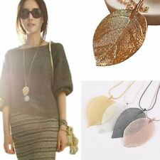 Rose Gold Fashion women Leaves Jewelry Leaf Pendant Long Chain Sweater Necklace