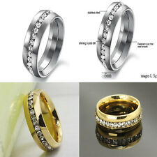 Stainless Steel Sz4-15 CZ Wedding Couple Titanium Ring
