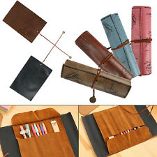 Vintage Pencil Case Treasure Pirate Map Roll Pen Bag Make Up Pouch PU Leather
