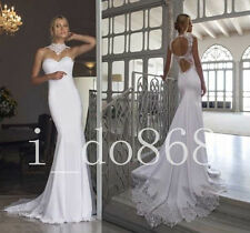 Sexy Open Back Lace Mermaid Wedding Dress Bridal Gown Prom Ball Deb Plus Size