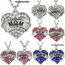 Xmas Gifts For Her - Silver Heart Pendant Necklace Women Mum Daughter Sister Mom