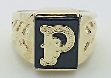 14K Yellow Gold Men's Rectangle Black Onyx Ring with Initial A-Z Ring Sizes 7-13