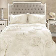 Gorgeous Shabby Ivory Three-Dimensional Floral Romantic Country Chic Quilt Set