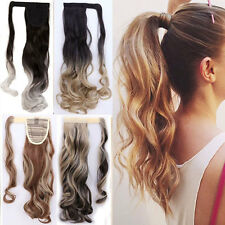US Sale blonde Clip In Ponytail Pony Tail Hair Extension Wrap On Hair piece TSR
