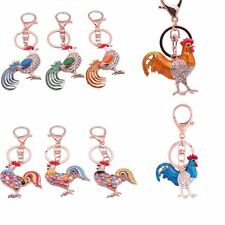 Chic Novelty Cock Key Chain Bags Pendant Chicken Keyrings Crystal
