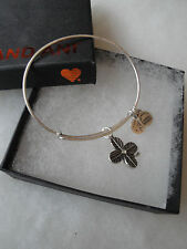 Authentic Alex and Ani   Four Leaf Clover Lucky Russian Silver Charm Bangle