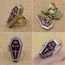 Locket Casket Ring Enamel Crown Bat Cross Jesus Vampire Open Box Coffin