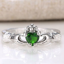 Fashion Women Jewelry 925 Silver Care Heart Emerald Topaz Wedding Ring Size 6-10